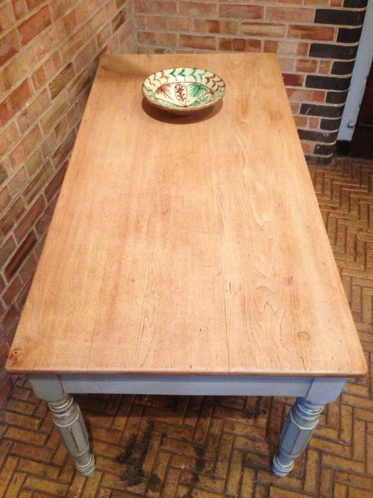 Early Victorian Painted Ash Kitchen Table2