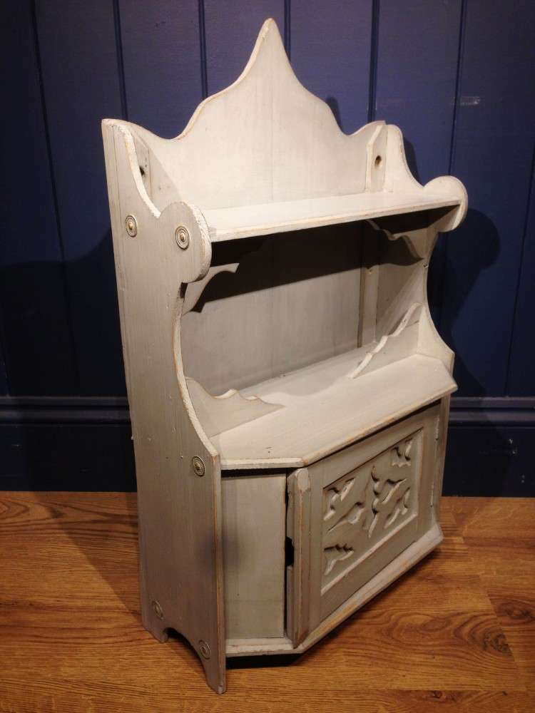 Edwardian Painted Pine Hanging Wall Cupboard1