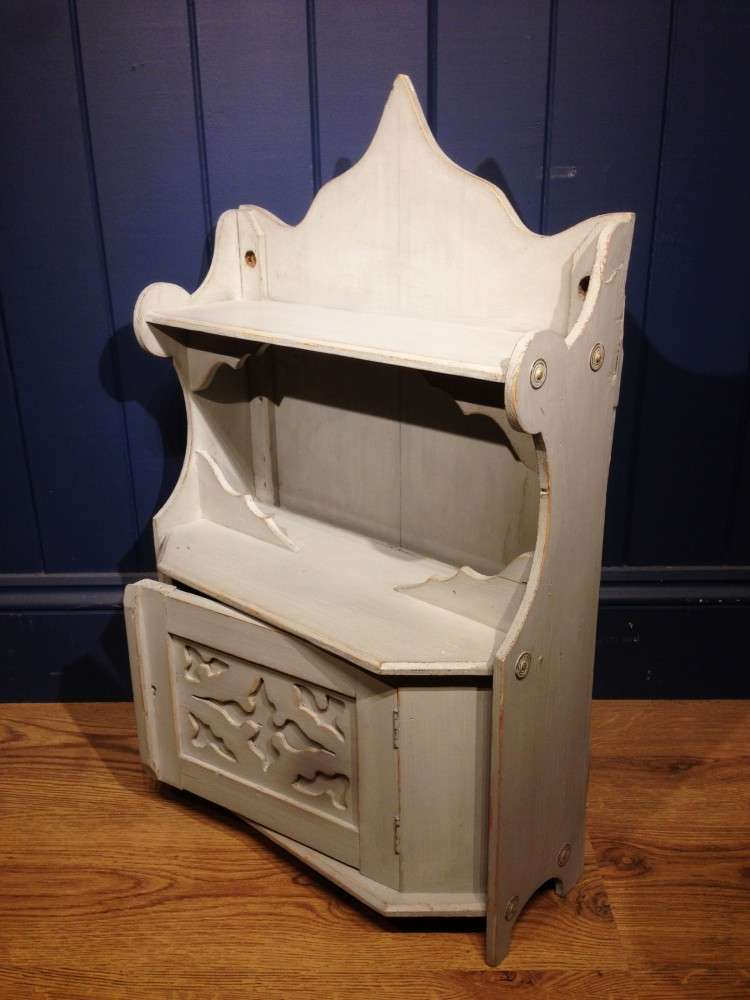 Edwardian Painted Pine Hanging Wall Cupboard2