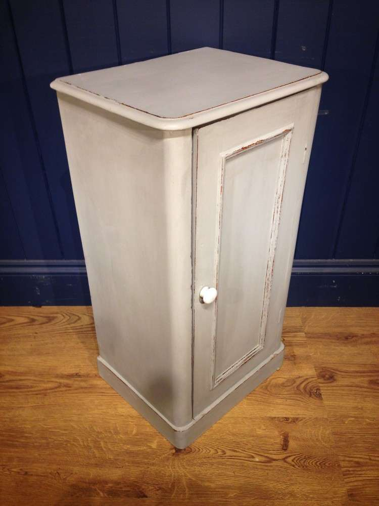 Mid Victorian Painted Pine Bedside Cupboard1