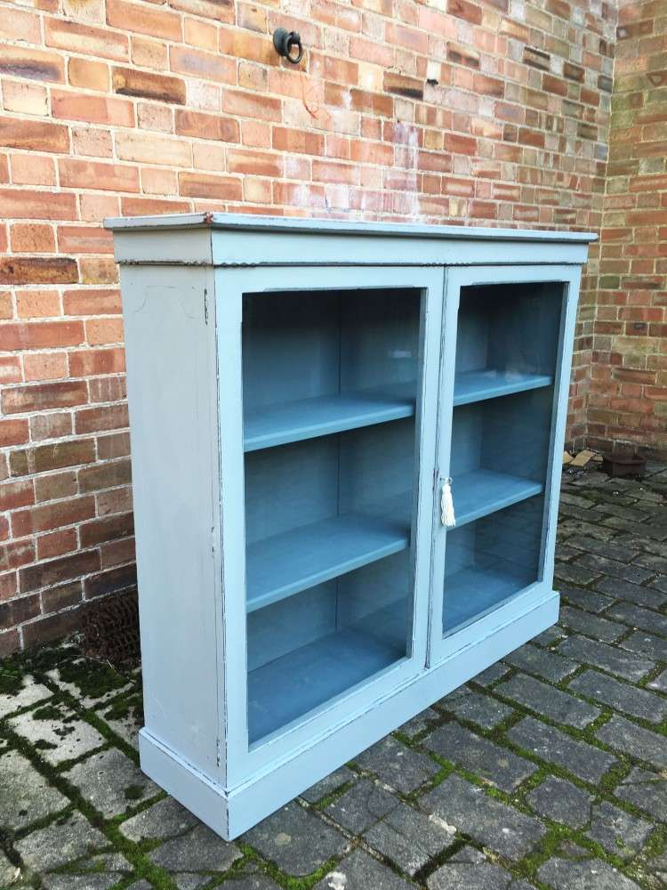 Late Victorian Painted Walnut Glazed Bookcase SOLD – Ref:1115