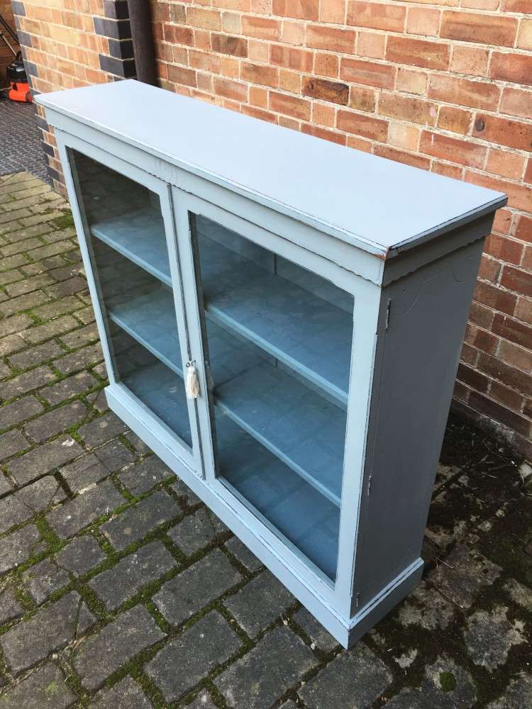 Late Victorian Painted Walnut Glazed Bookcase2
