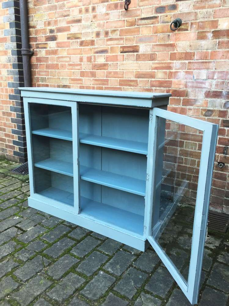 Late Victorian Painted Walnut Glazed Bookcase3
