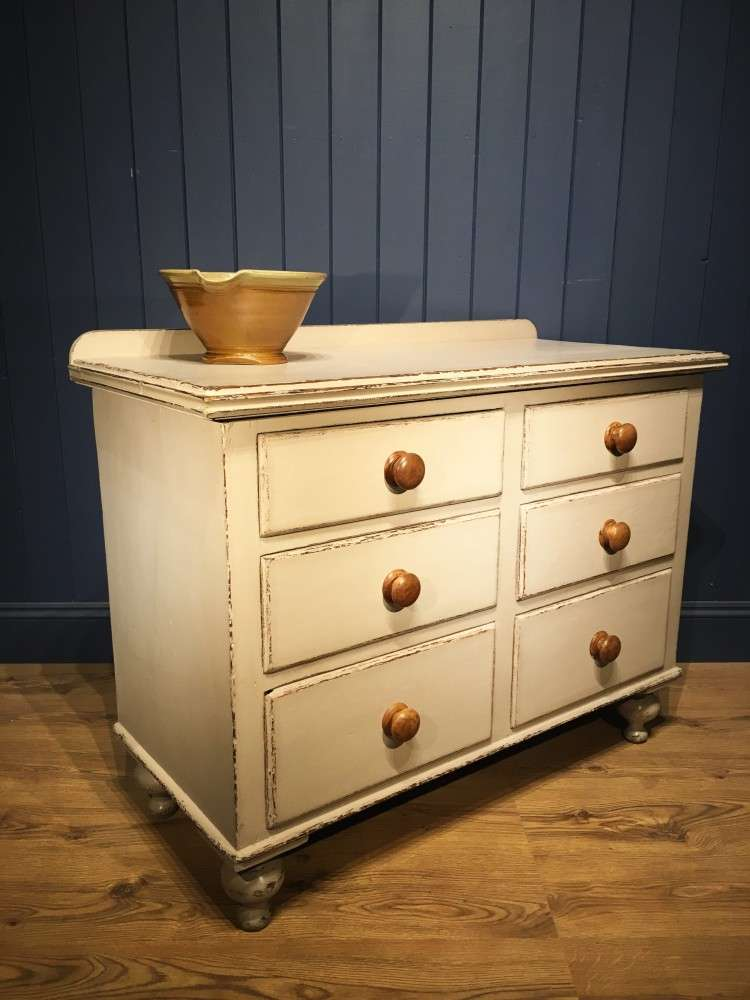Mid Victorian Painted Pine Dresser Base1