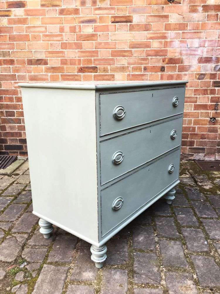 Early Victorian Painted Mahogany 3 Drawer Chest1