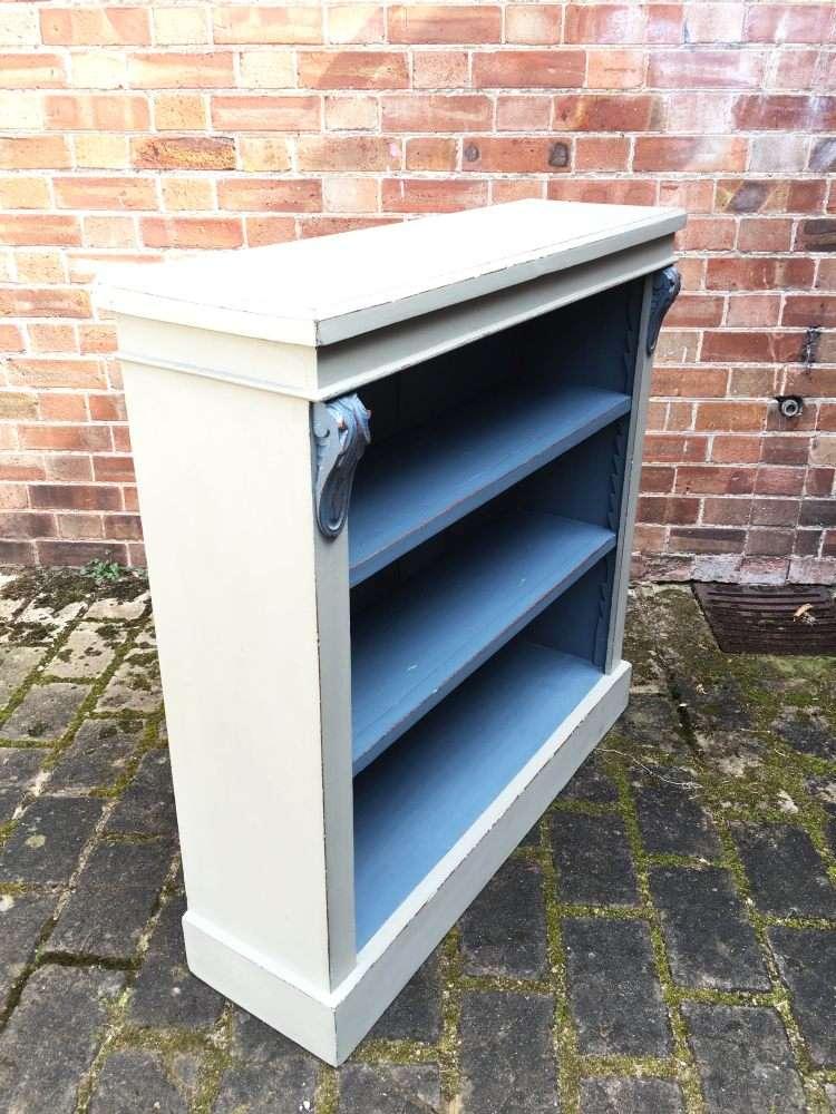 Mid Victorian Painted Walnut Open Bookcase1