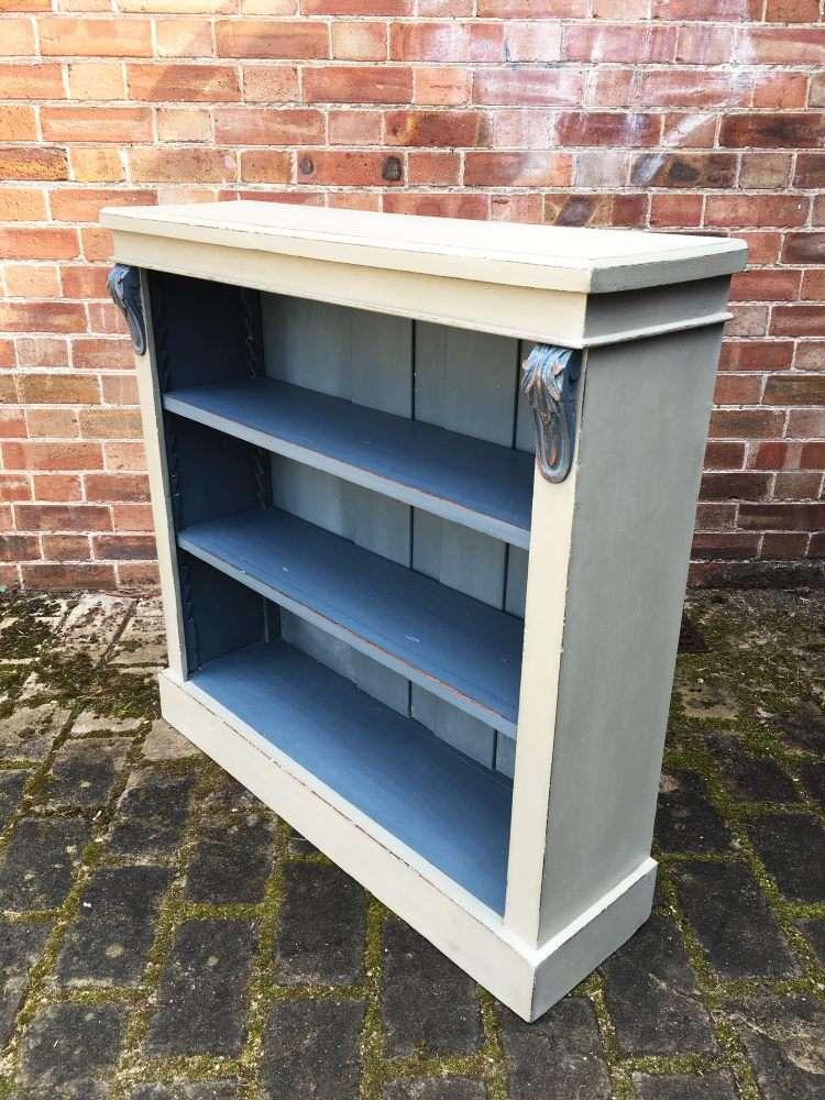 Mid Victorian Painted Walnut Open Bookcase2