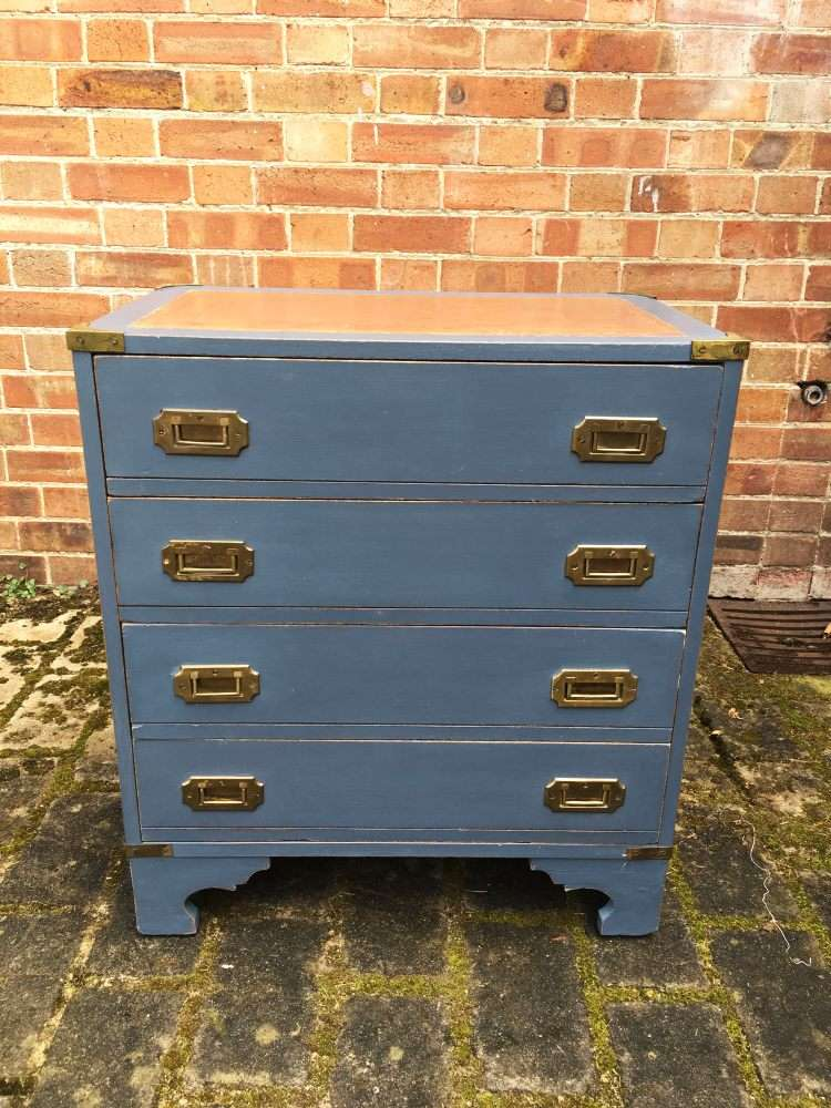 Military Style Painted Small Chest Of Drawers