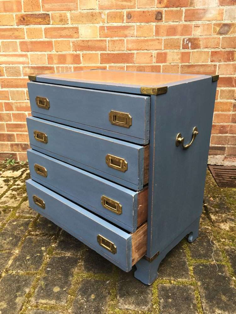 Military Style Painted Small Chest Of Drawers2