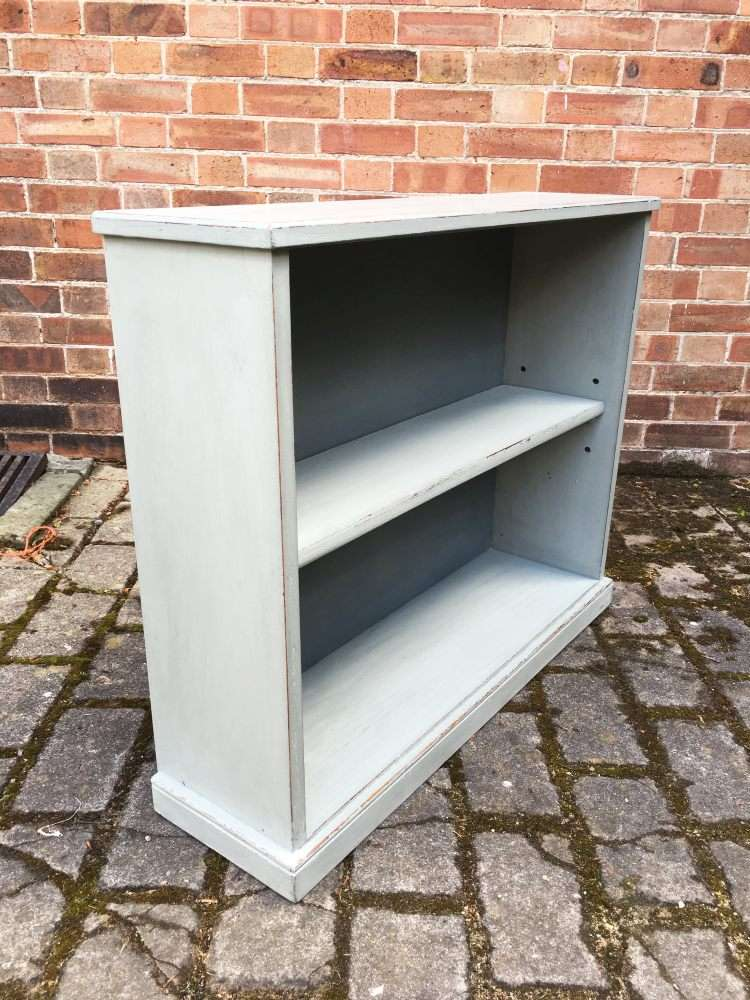 Edwardian Painted Oak Open Bookcase1