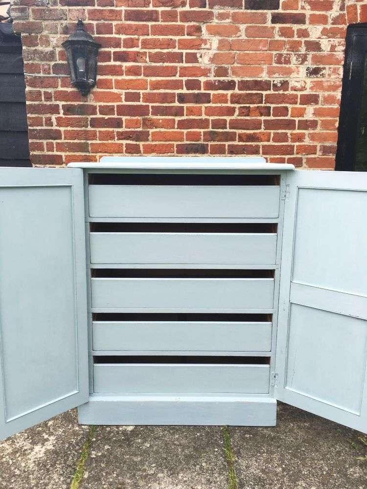 Edwardian Painted Pine Linen Cupboard3