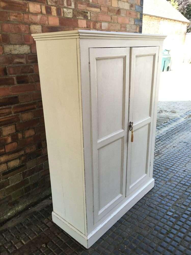 Edwardian Painted Pine Linen Cupboard1