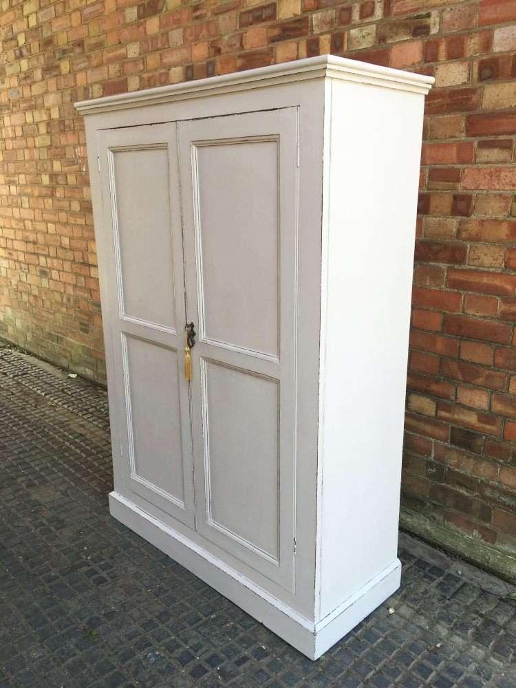 Edwardian Painted Pine Linen Cupboard2