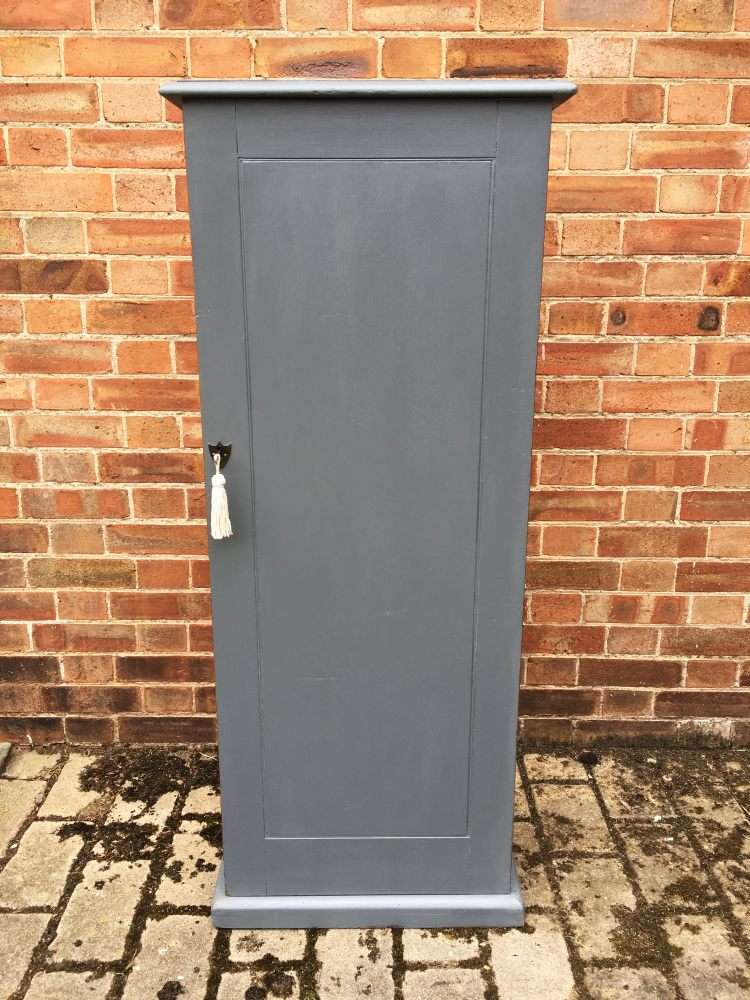 Mid Victorian Painted Mahogany Narrow Cupboard