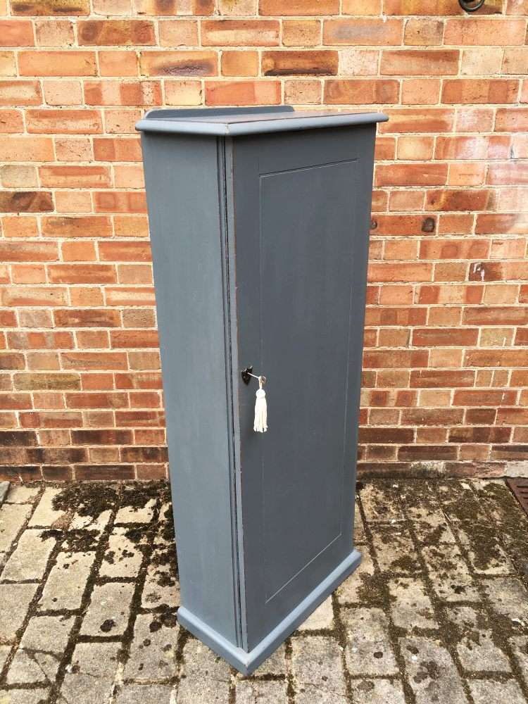 Mid Victorian Painted Mahogany Narrow Cupboard1