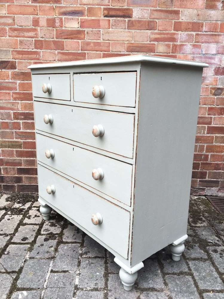 Mid Victorian Painted Pine Cottage Chest1