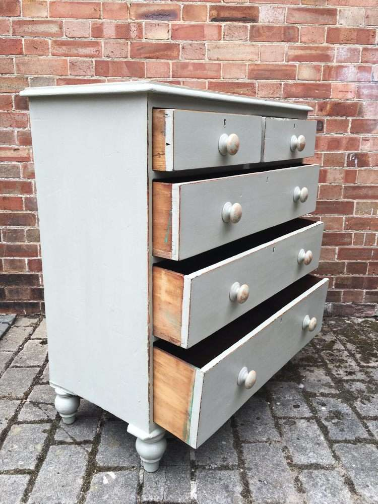 Mid Victorian Painted Pine Cottage Chest2