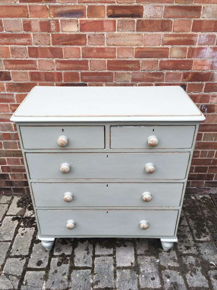 Mid Victorian Painted Pine Cottage Chest3
