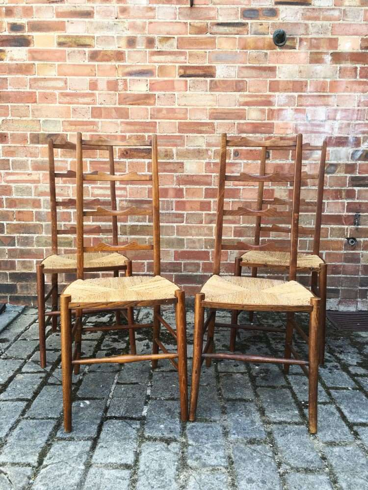 Set Of 4 Edwardian Beech Ladder Back Chairs SOLD- Ref:1179