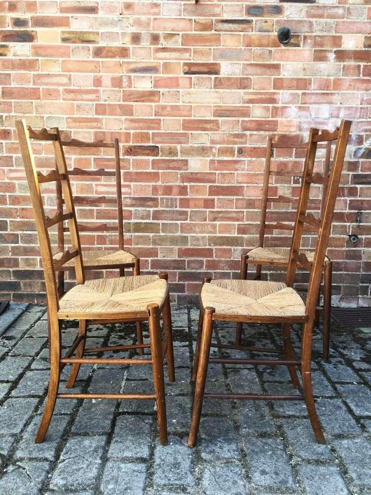 Set Of 4 Edwardian Beech Ladder Back Chairs1