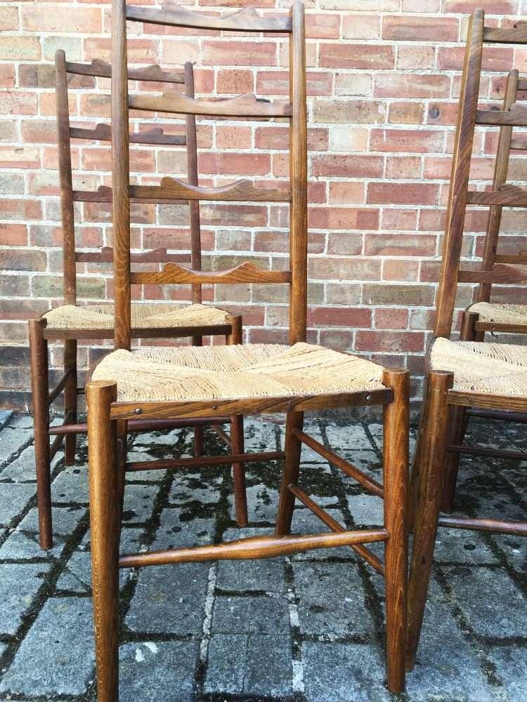 Set Of 4 Edwardian Beech Ladder Back Chairs2
