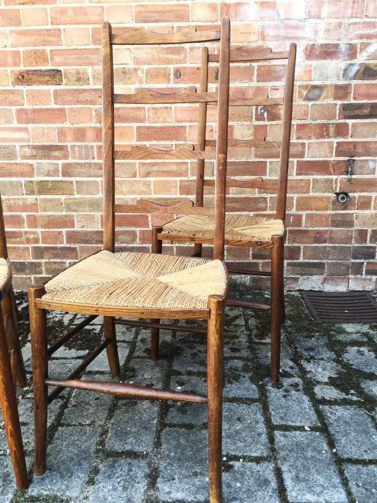 Set Of 4 Edwardian Beech Ladder Back Chairs3