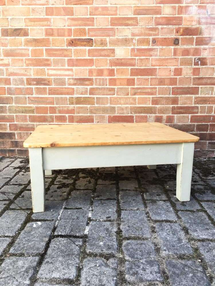 Victorian Painted Pine Scrubbed Top Coffee Table
