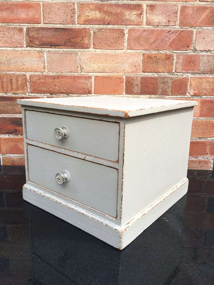 Edwardian Painted Pine 2 Drawer Table Cabinet1