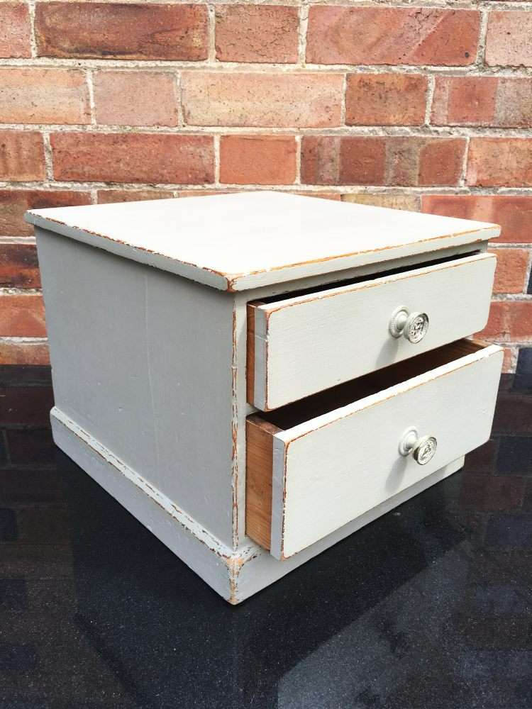 Edwardian Painted Pine 2 Drawer Table Cabinet2