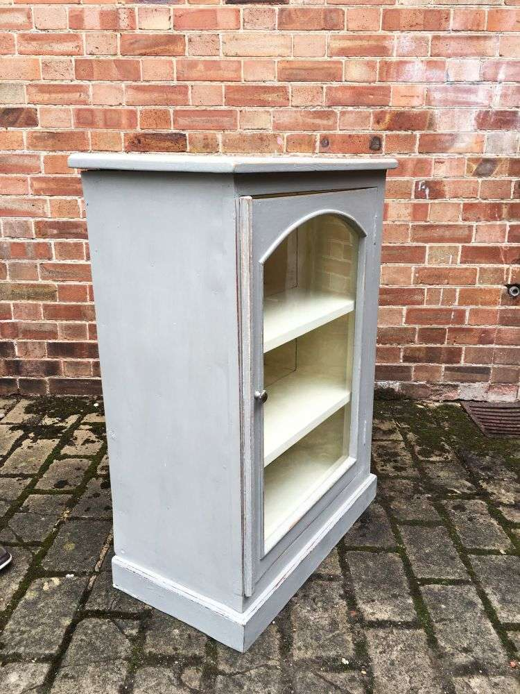 1930's Painted Pine Small Glazed Cabinet1