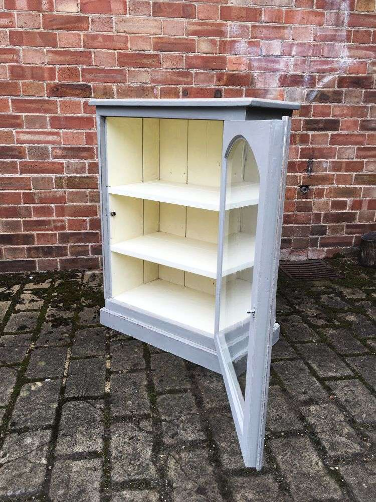 1930's Painted Pine Small Glazed Cabinet2
