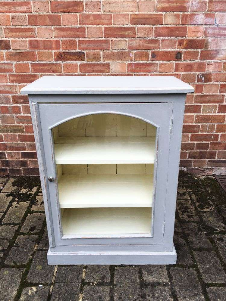 1930's Painted Pine Small Glazed Cabinet3