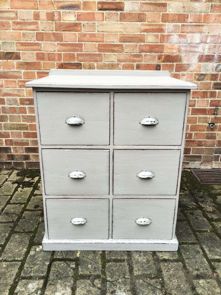 Edwardian Painted Pine 6 Drawer Kitchen Base -SOLD Ref:1197