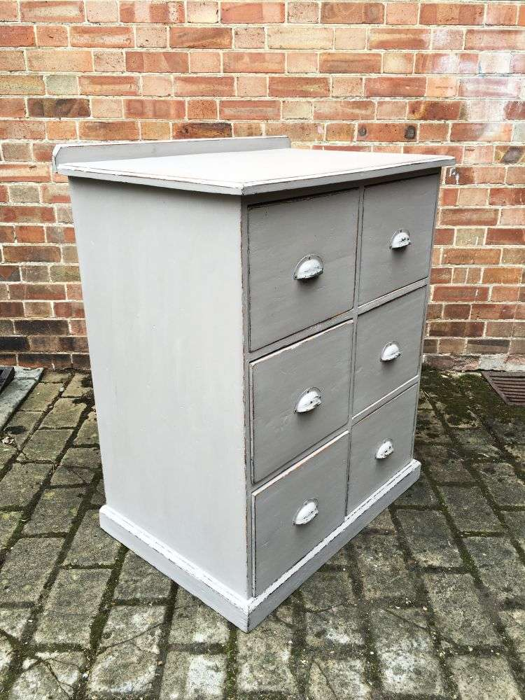 Edwardian Painted Pine 6 Drawer Kitchen Base1