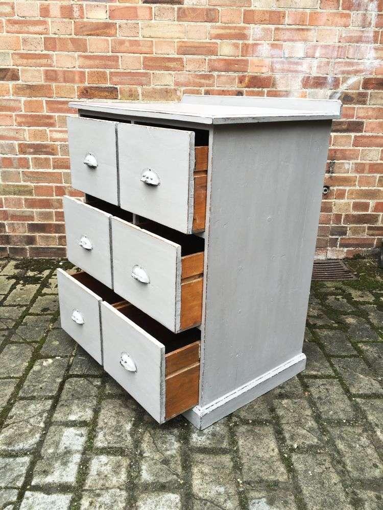 Edwardian Painted Pine 6 Drawer Kitchen Base2