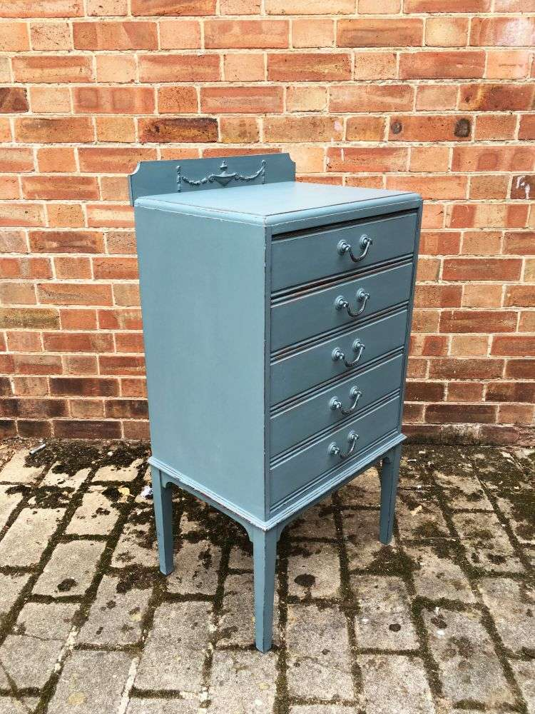 Edwardian Painted 5 Drawer Chest1