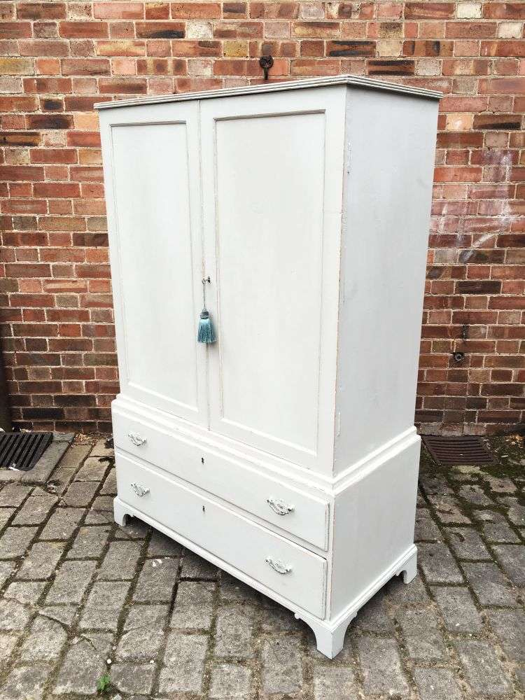 Regency Painted Pine 2 Part Cupboard Chest Press3