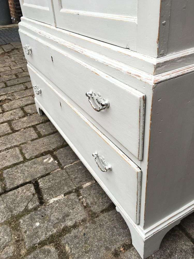 Regency Painted Pine 2 Part Cupboard Chest Press1