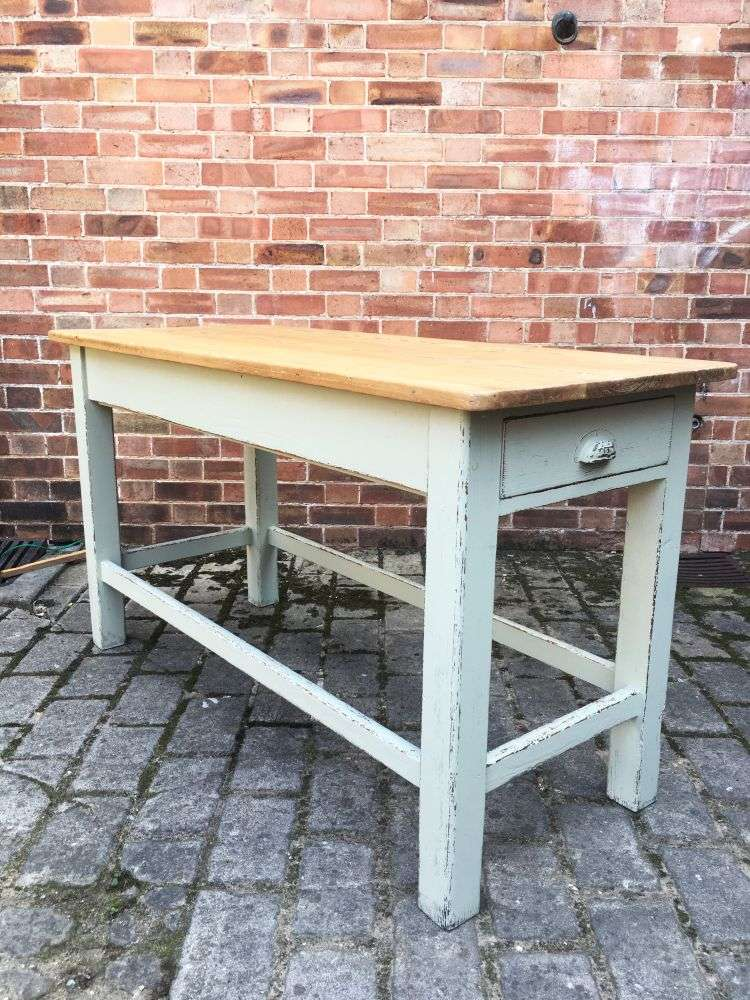 Late Victorian Painted Pine Farmhouse Kitchen Table1