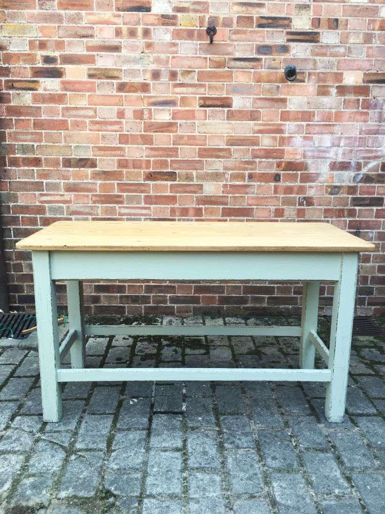 Late Victorian Painted Pine Farmhouse Kitchen Table2