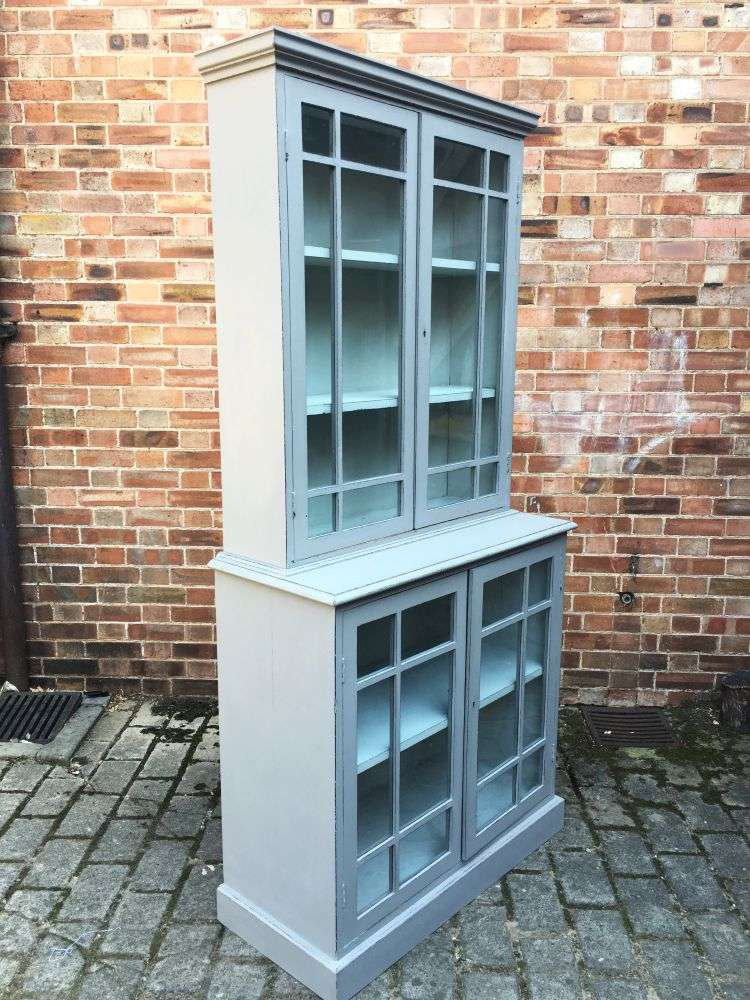 Edwardian Painted Oak 4 Door Glazed Kitchen Cabinet1