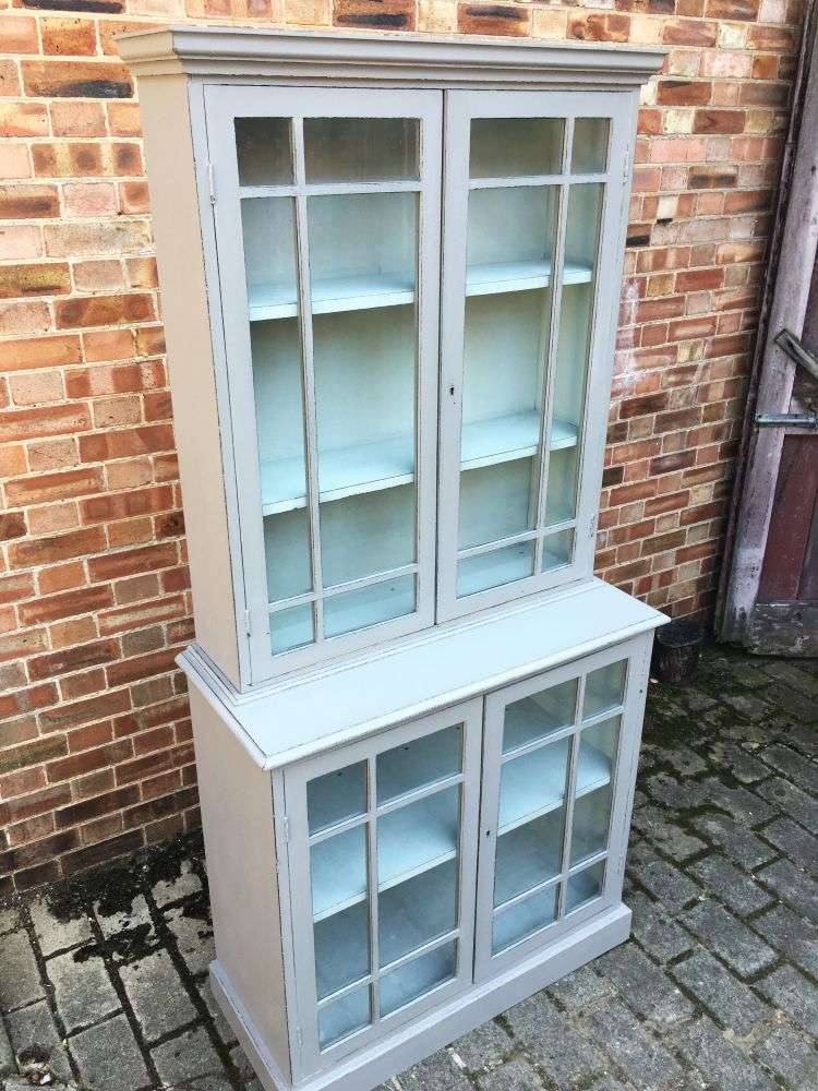 Edwardian Painted Oak 4 Door Glazed Kitchen Cabinet3