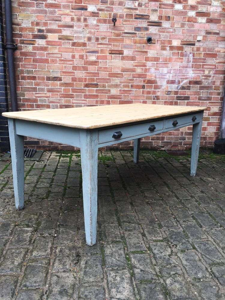 Early Victorian Painted Pine Farmhouse Table Ref 1211 Old Painted Furniture
