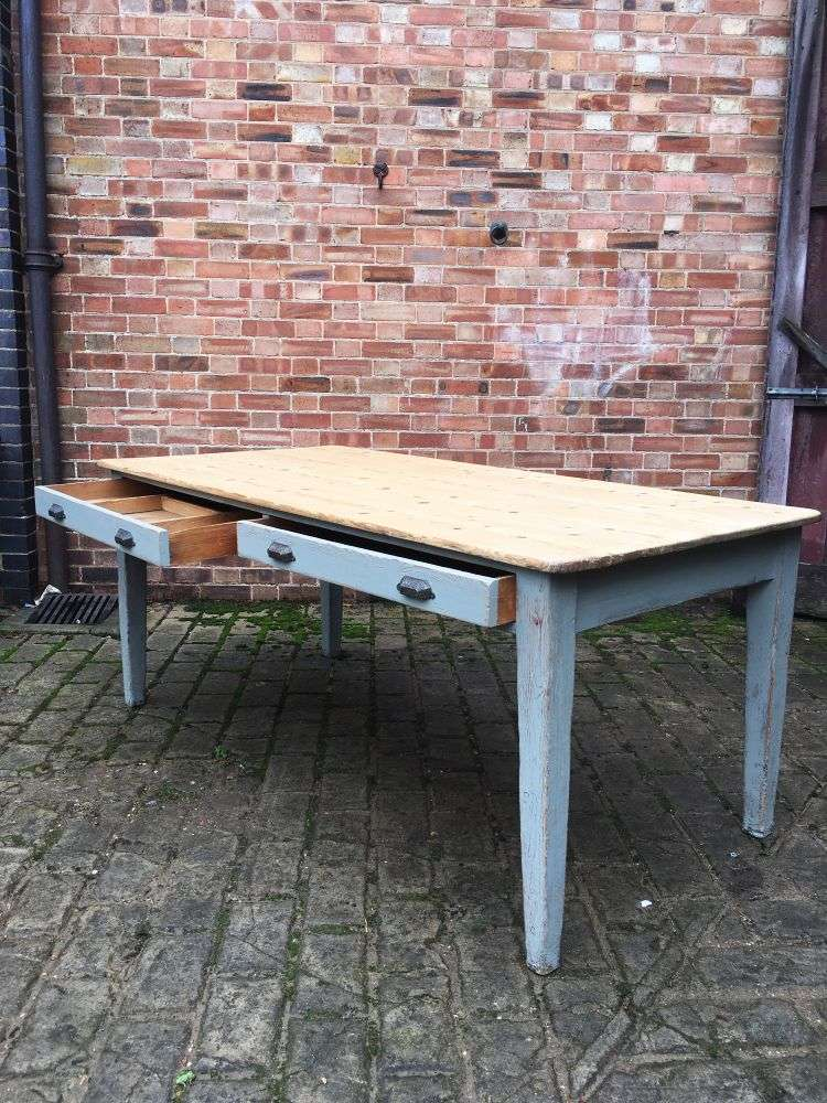 Early Victorian Painted Pine Farmhouse Table2