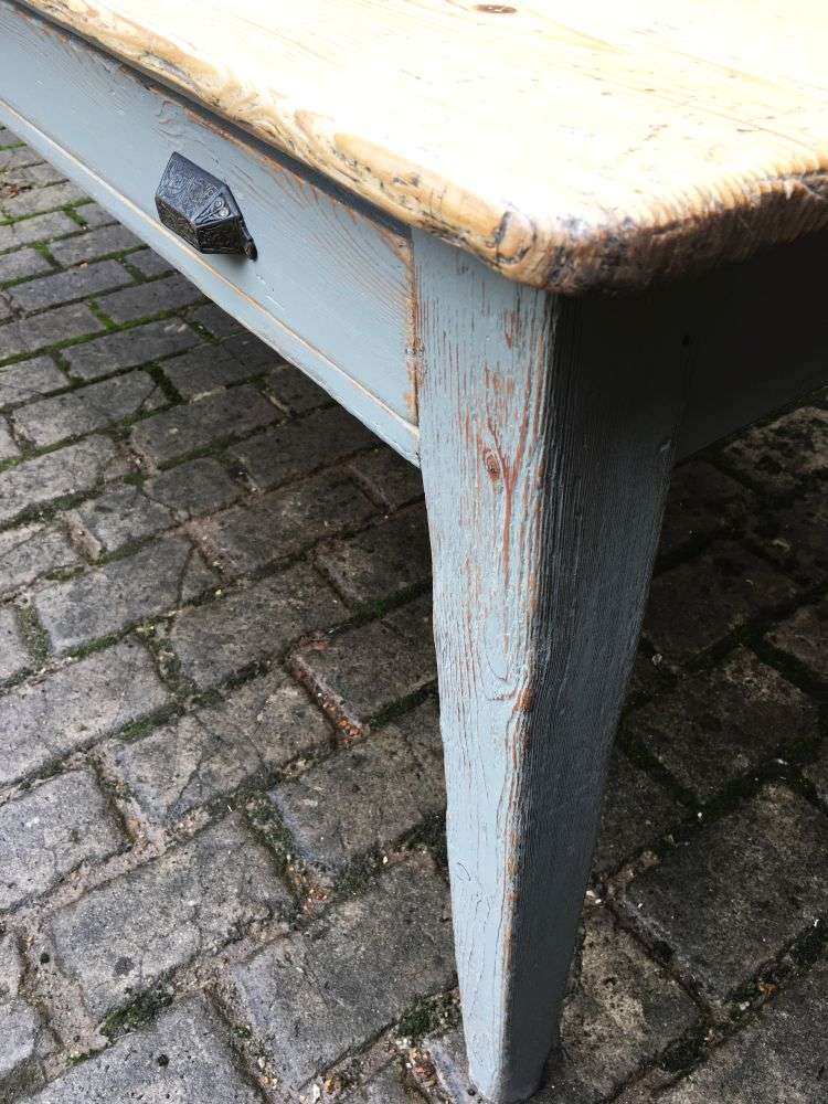 Early Victorian Painted Pine Farmhouse Table3