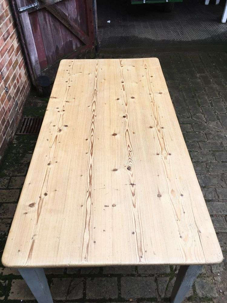 Early Victorian Painted Pine Farmhouse Table4