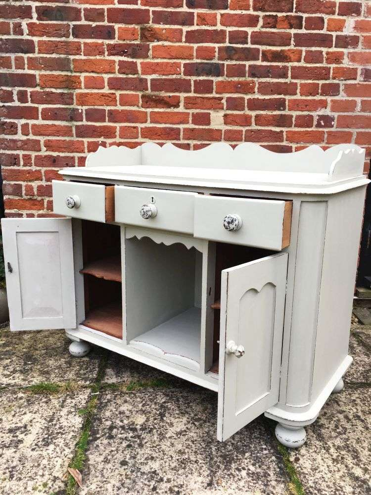 Mid Victorian Painted Mahogany Small Dresser1