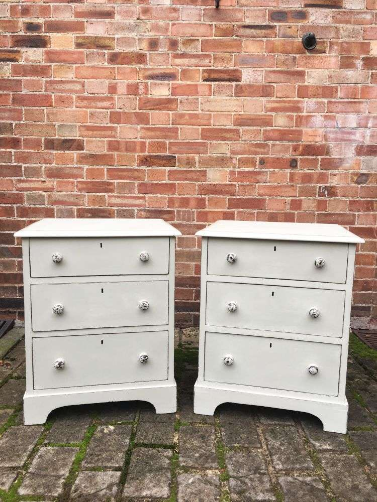 Mid Victorian Painted Mahogany Bedside Drawers
