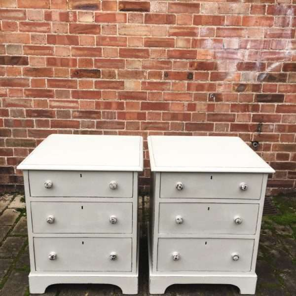 Mid Victorian Painted Mahogany Bedside Drawers3