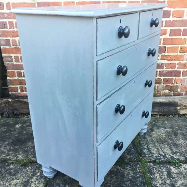 Mid Victorian Painted Pine Chest Of Drawers1